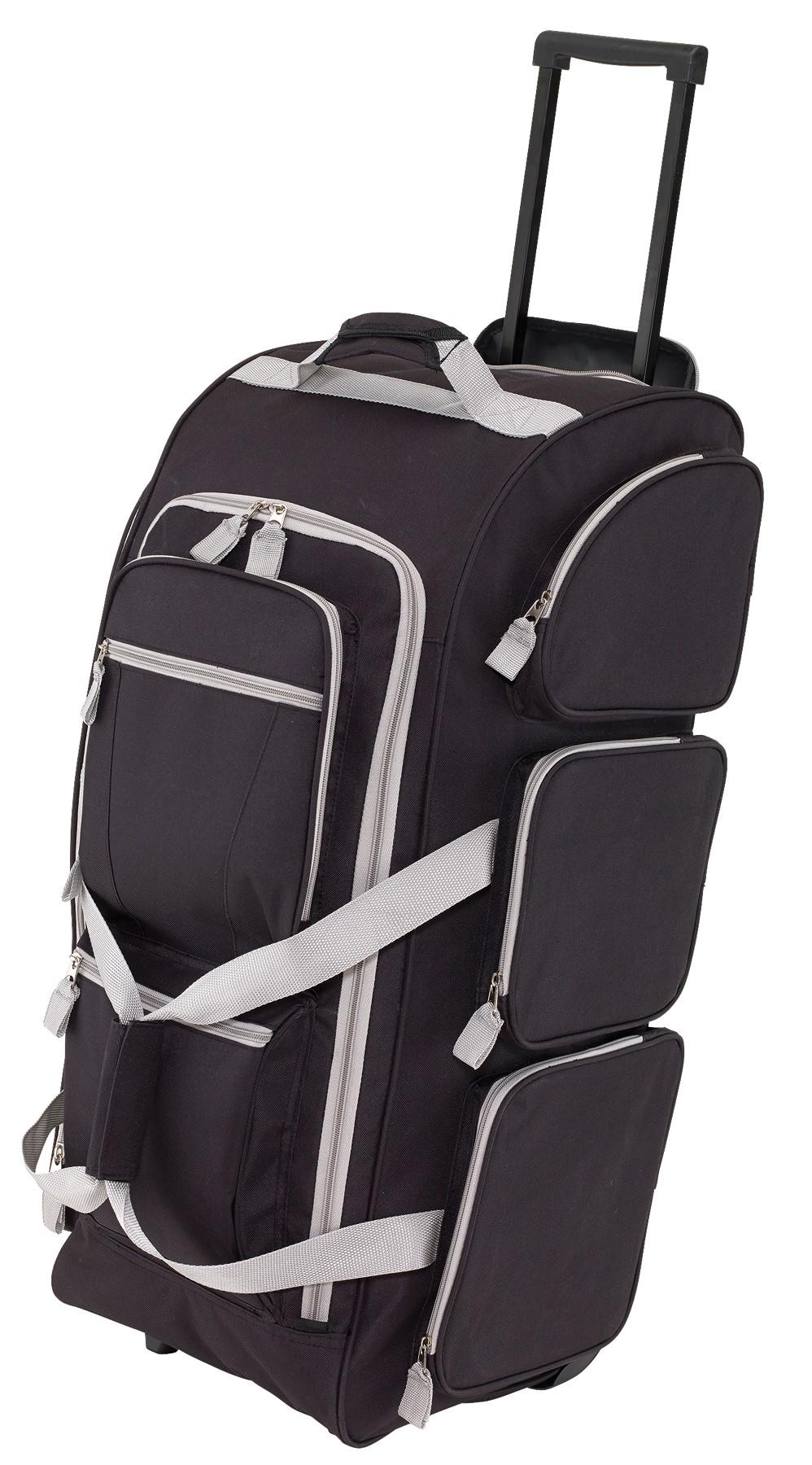 c2d6fc5e15db 9P gurulós utazó táska, fekete-szürke